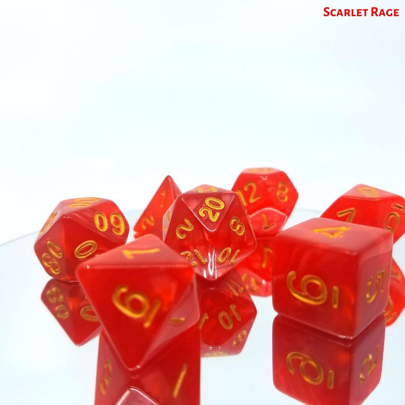 DnD Dice - Scarlet Rage - Red with Gold Numbers