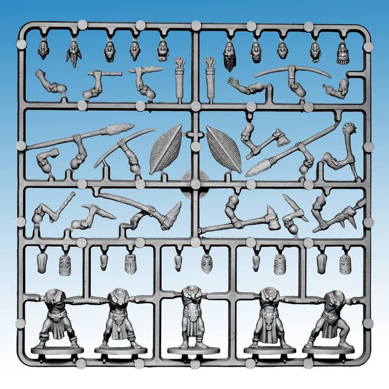 Frostgrave - ghost archipelago tribals - sprue with miniature parts