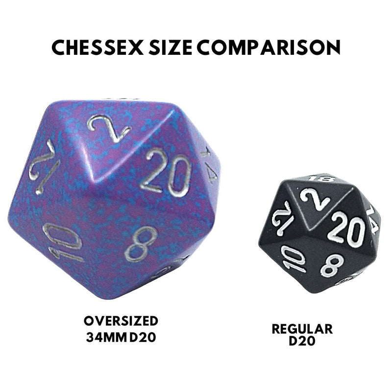 OVERSIZED 34mm D20 Dice: Speckled Silver Tetra w/ Silver Numbering 1pk  ||  Chessex Dice
