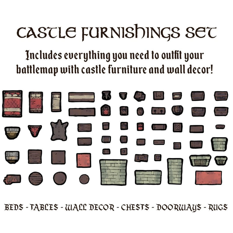 DnD terrain - castle furnishings set