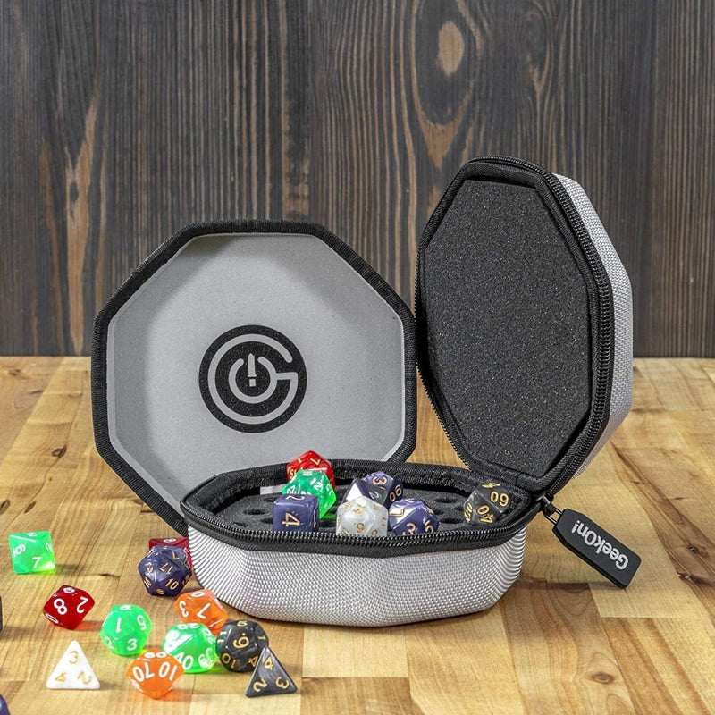 geekon grey dice tray and dice case