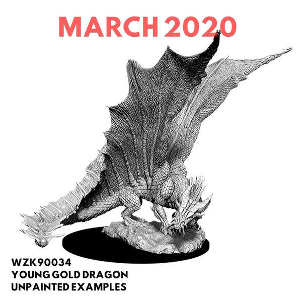 Wizkids D&D Miniature - Young Gold Dragon - Unpainted Example