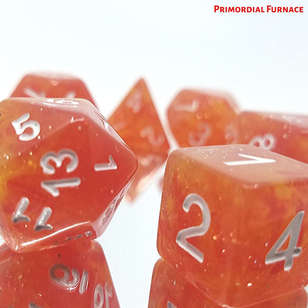 7X Polyhedral Dice 16mm for Dungeons and Dragons Dice DND RPG Orange Yellow