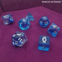 Dungeons and Dragons Dice - Winds of Tempest - resting on Purple Dice Tray