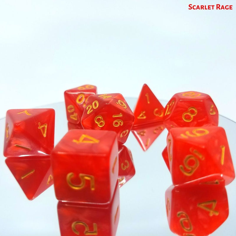 Dungeons and Dragons Dice - Scarlet Rage - Opaque Red Swirls with Gold Numbers