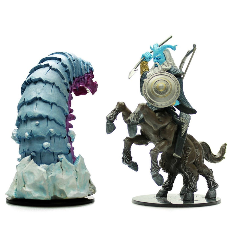 prepainted huge centaur and huge frost worm - d&d minis