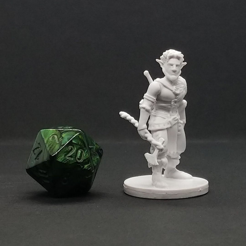 D&D Miniatures - Male Firbolg Barbarian - krakenship miniatures - unpainted d20 comparison
