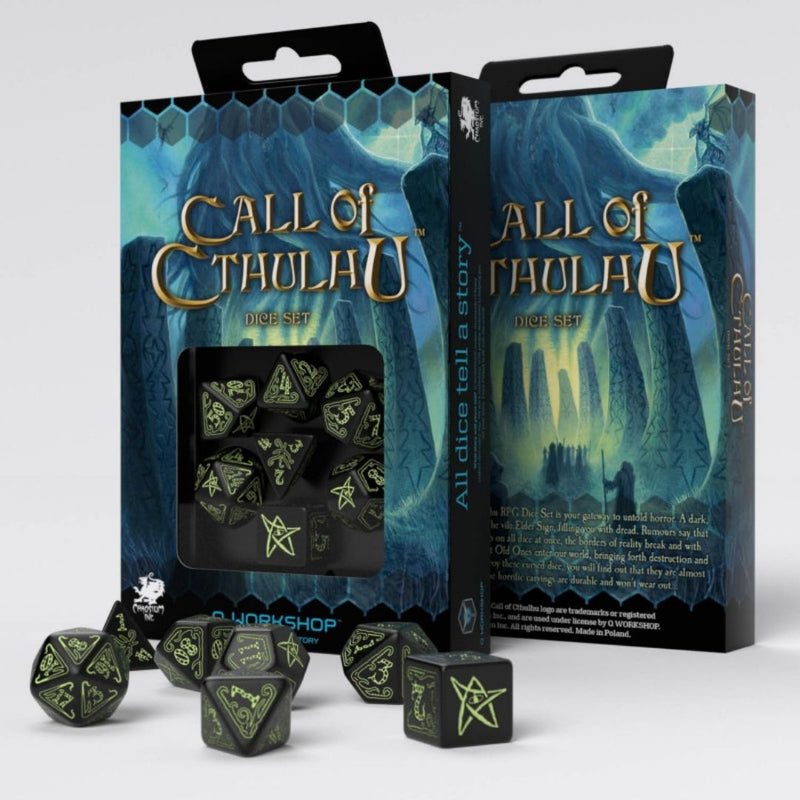 Call of Cthulhu Dice: Black w/ Glow-In-The-Dark Numbering  ||  Q WORKSHOP