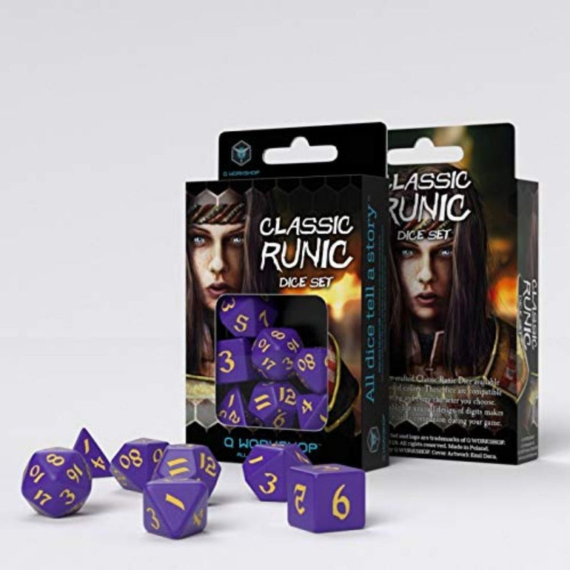 DnD dice - qworkshop purple yellow dice