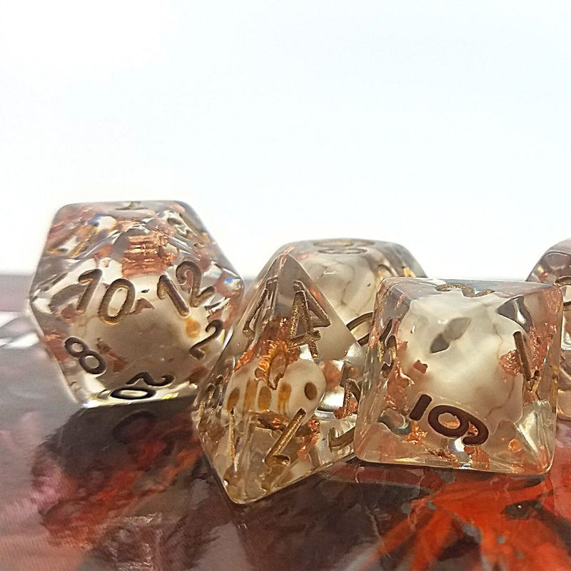 a grave mistake dnd dice - skulls and copper leaf