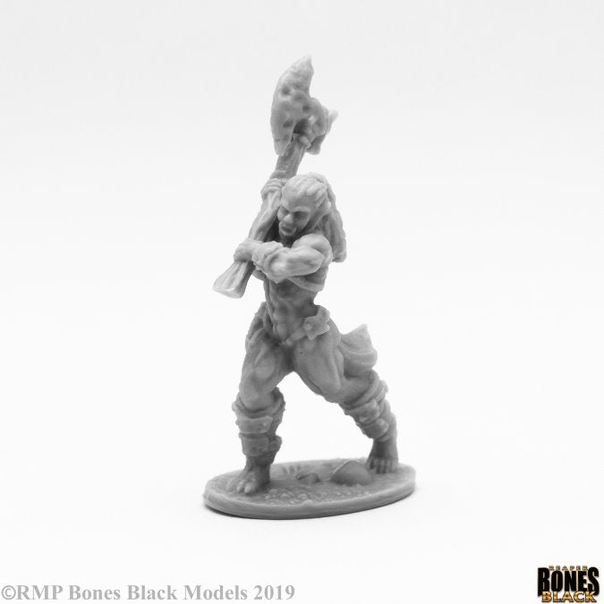 Reaper Miniatures - Female Orc Barbarian great axe- bones black