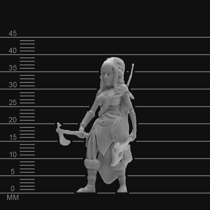 D&D Minis - Female Firbolg Barbarian - krakenship miniatures - unpainted scale