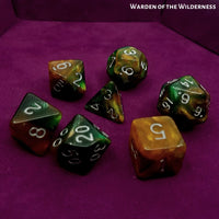 RPG Dice - Warden of the Wilderness - on purple dice tray