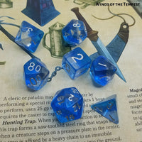 Dice for Dungeons and Dragons - Winds of Tempest - resting on D&D PHB