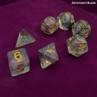 Artificer's Blade - Black & Teal Swirled Dice on purple Dice Tray