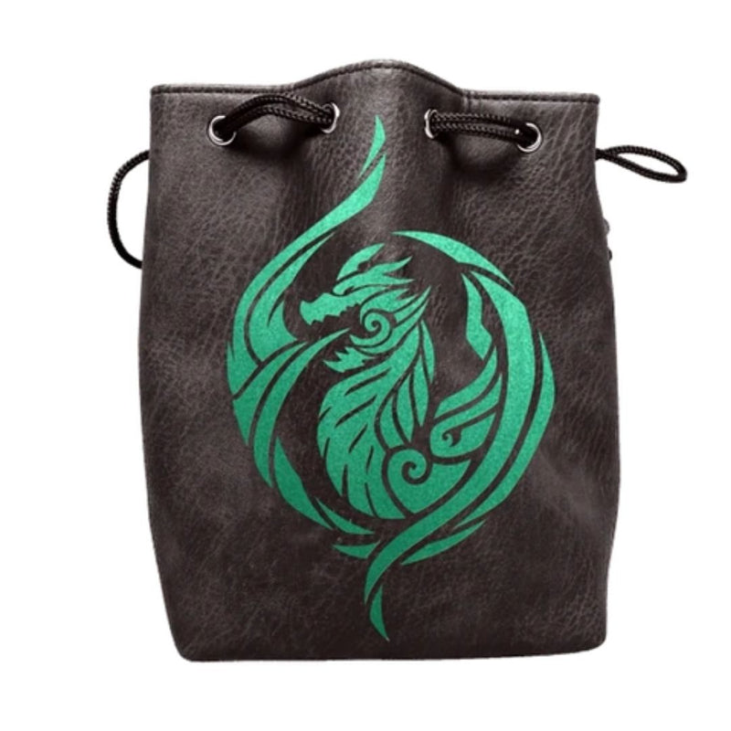Large Black Leather Dice Bag - Green Dragon's Breath