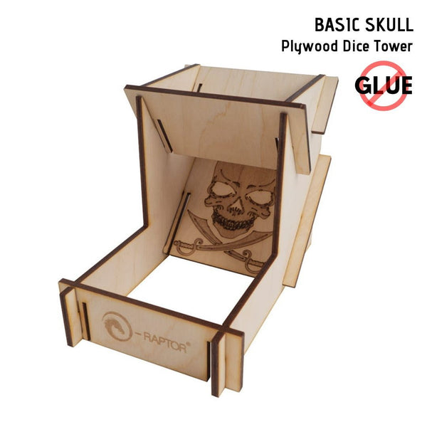 e-Raptor - Basic Skull - Plywood Dice Tower 1pk - front view