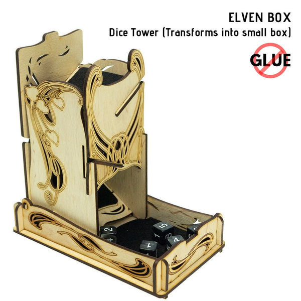 e-Raptor - Elven Box - Dice Tower 1pk - front & side view