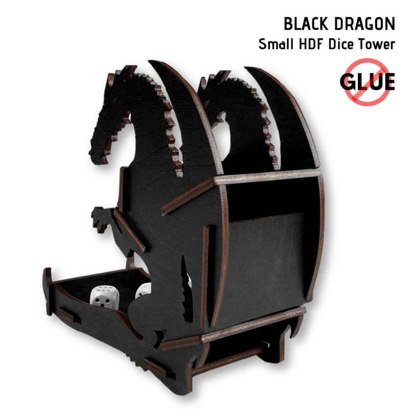 Dice Towers - e-Raptor - Black Dragon - Small HDF Dice Tower - rear view