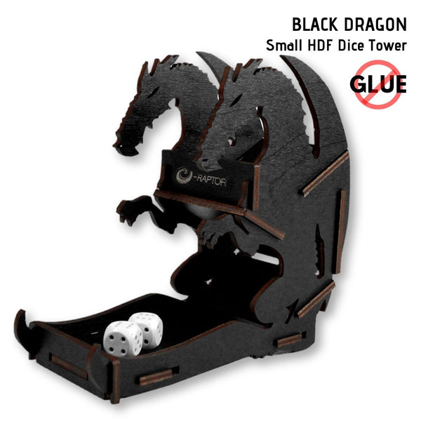 e-Raptor - Black Dragon - Small HDF Dice Tower 1pk - front & side view