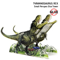 e-Raptor - Tyrannosaurus Rex - Small Perspex Dice Tower 1pk - front & side view