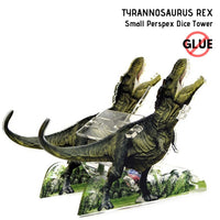 Dice Towers - e-Raptor - Tyrannosaurus Rex (T-Rex) - Small Perspex Dice Tower - side view 2