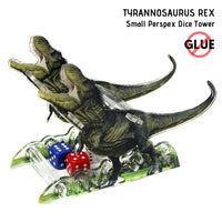 Dice Towers - e-Raptor - Tyrannosaurus Rex (t_Rex) - Small Perspex Dice Tower - side view