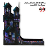 e-Raptor - Castle Black: Large HDF Dice Tower (26cm high) - side view