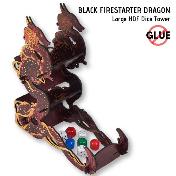 Dice Towers - e-Raptor - Black Firestarter Dragon - Large HDF Dice Tower
