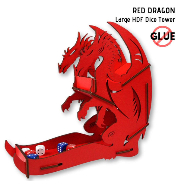 e-Raptor - Red Dragon - Large HDF Dice Tower 1pk - front & side view