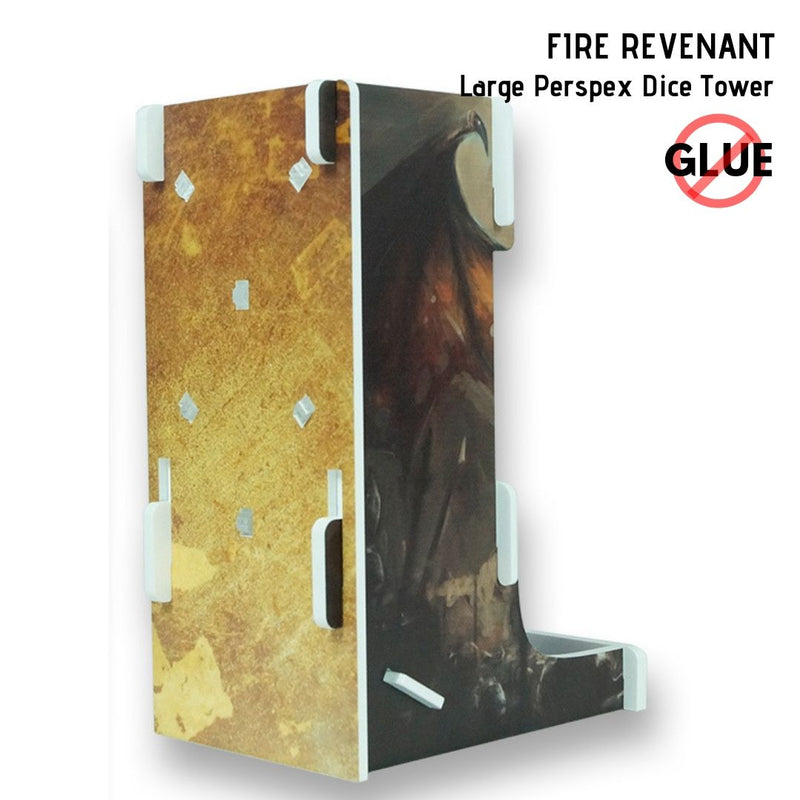 Dice Towers - e-Raptor - Dragon Guardian - Large Perspex Dice Tower - back & side view