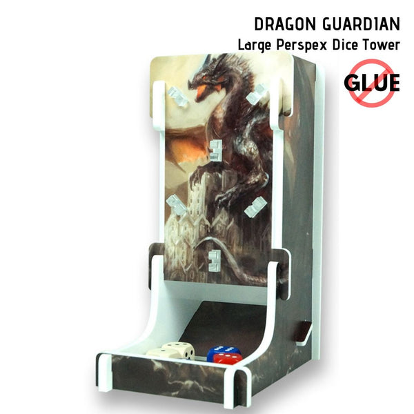 e-Raptor - Dragon Guardian - Large Perspex Dice Tower 1pk - front & side view