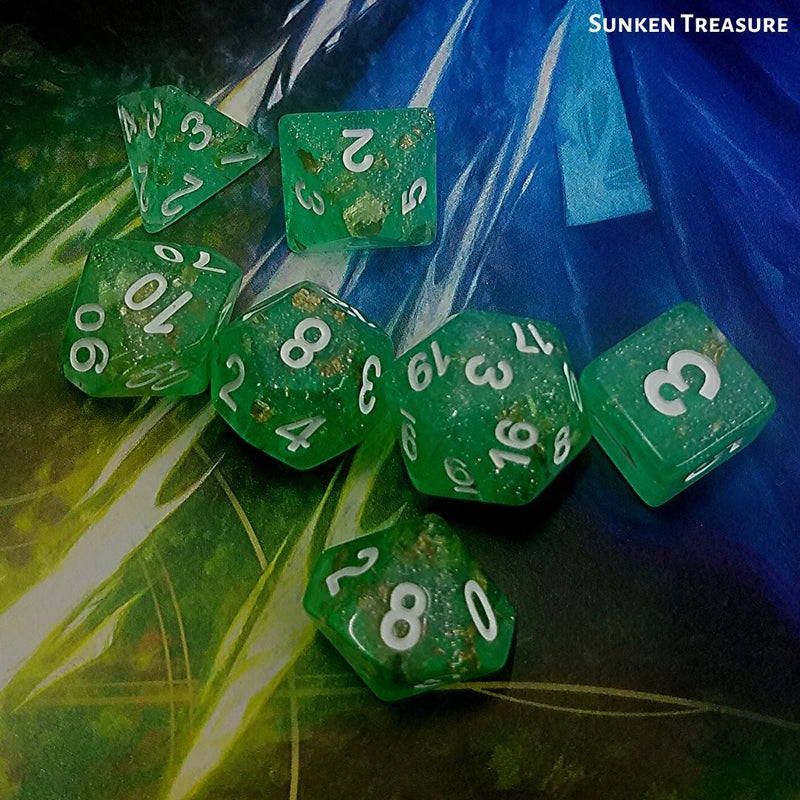 Dice for Dungeons and Dragons - Sunken Treasure - on top of PHB 5e