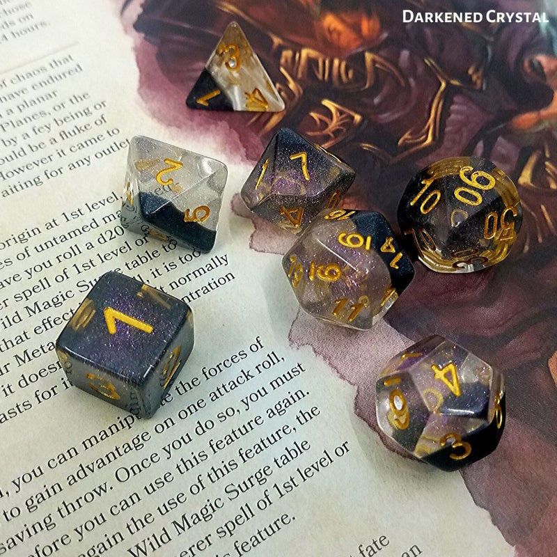 D&D Dice Set - Darkened Crystal - on top of 5e PHB