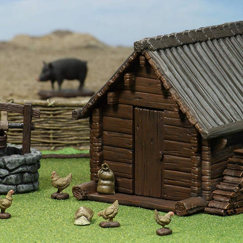 DnD Miniatures - Wizkids 4D - Medieval Homestead - Pre-Painted House & Farm Animals for D&D and Pathfinder