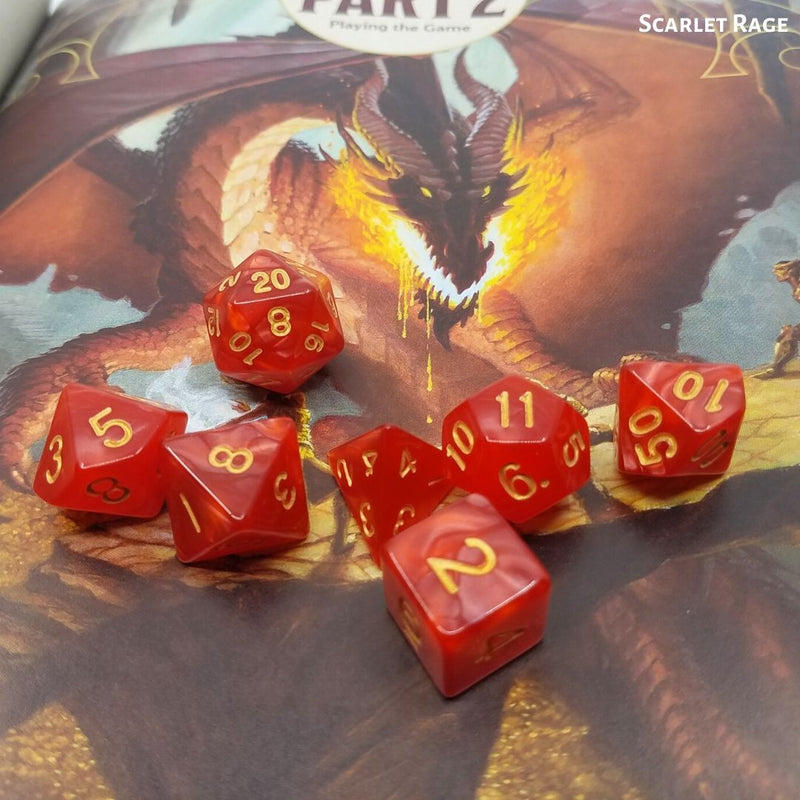 Dice for Dungeons and Dragons - Scarlet Rage Red Dice - Displayed on D&D Dragon