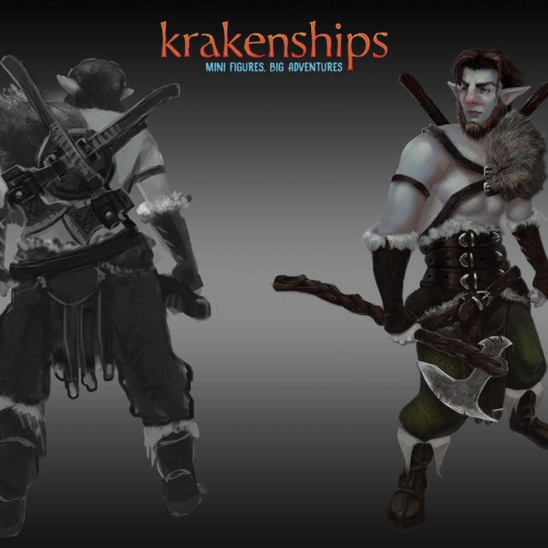 DnD Miniatures - Male Firbolg Barbarian - krakenship miniatures - artwork