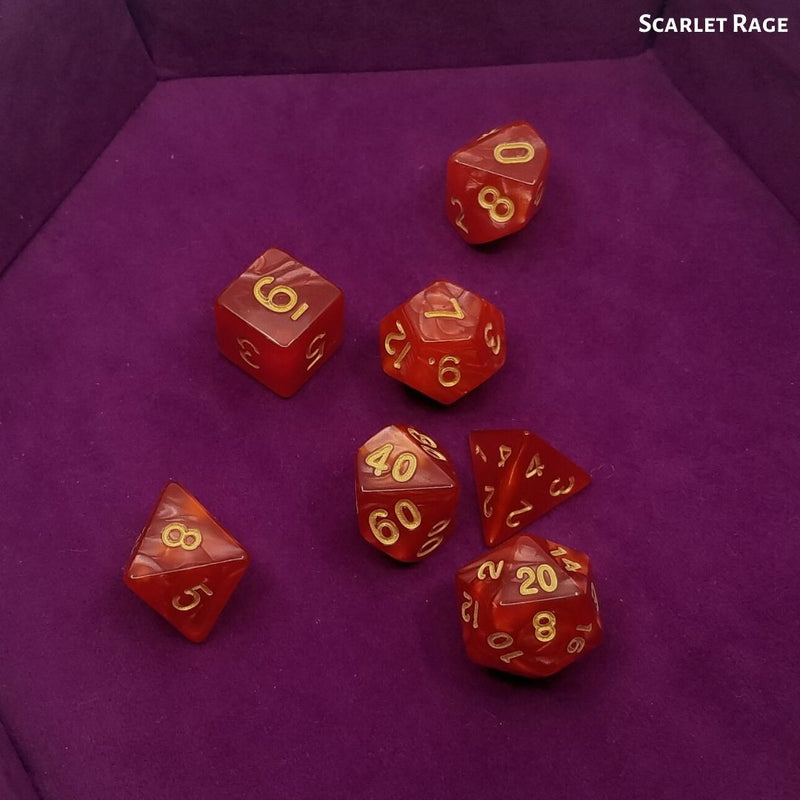 DnD Dice - Scarlet Rage - Red with Gold Numbering displayed on Purple Dice Tray