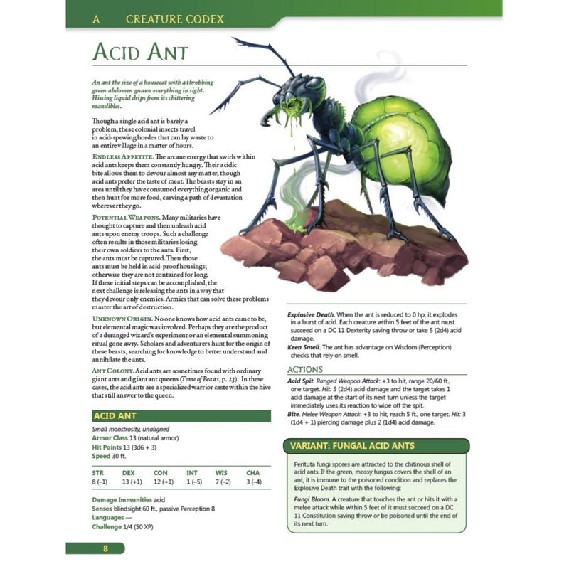 acid ant - creature codex tome of beasts 5e