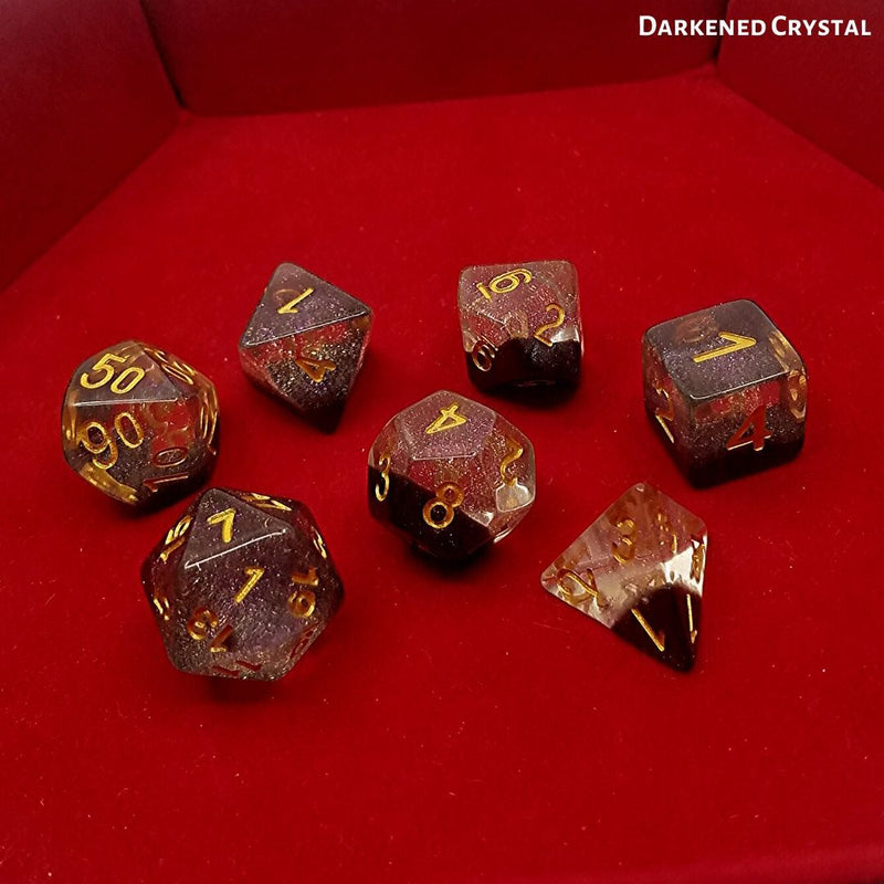 RPG Dice Set - Darkened Crystal - on top of red dice tray