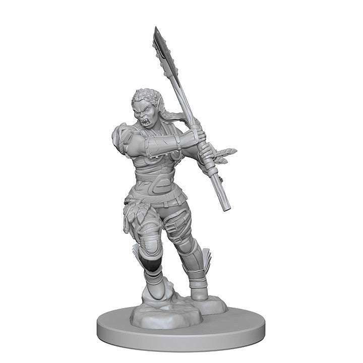 Pathfinder Miniatures - Female Half Orc Barbarian with Spear - unpainted