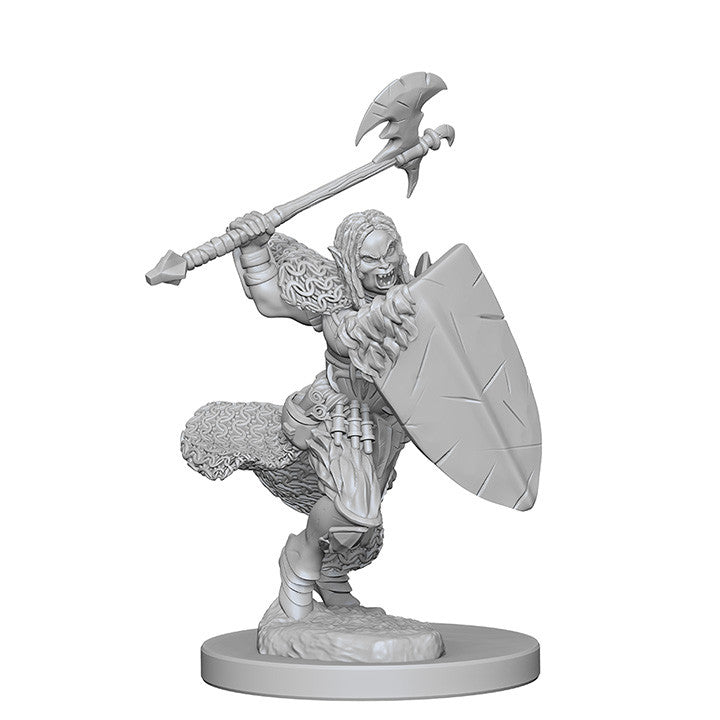Pathfinder Minis - Female Half Orc Barbarian with Axe - unpainted