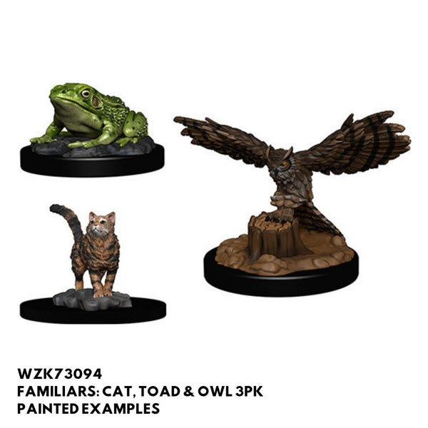 Familiars 3pk (Cat, Toad & Owl)  ||  Pathfinder: Deep Cuts Unpainted Miniatures