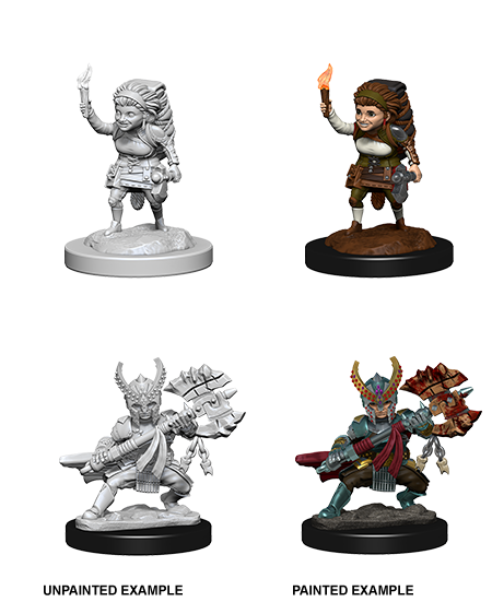 D&D Minis - Female Halfling Fighter with Torch or Battle Axe