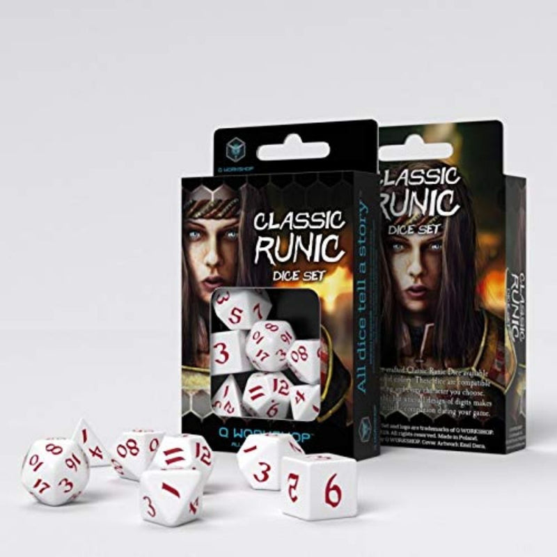 Classic Runic Dice: White w/ Red Numbering  ||  Q WORKSHOP