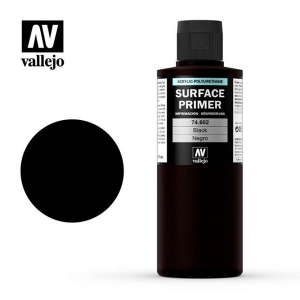 Vallejo #AAV74601 Surface Primer Black 200 ml 1pk - Product