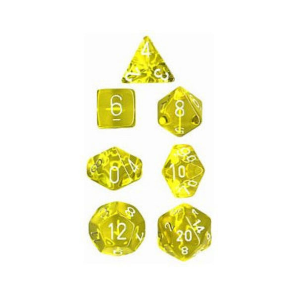 Translucent Yellow w/ White Numbering 7-Die Set  ||  Chessex Dice