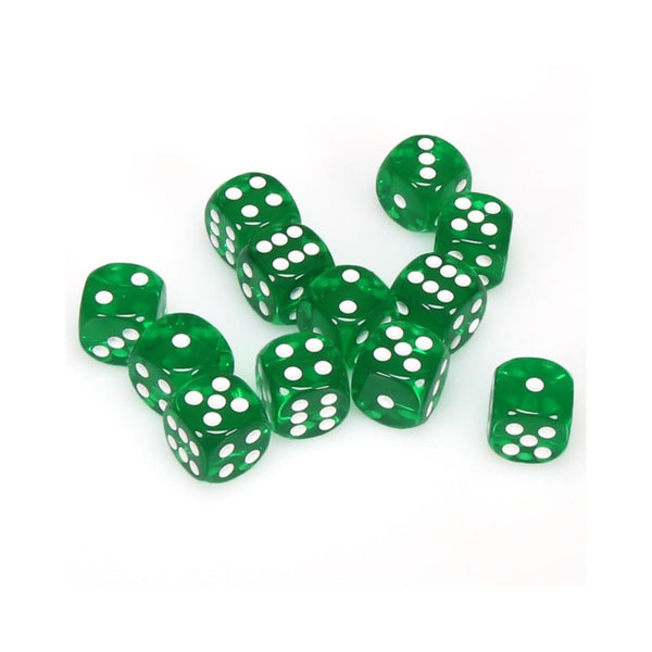 Translucent 16mm D6 Green w/ white Pips 12pk  ||  Chessex Dice