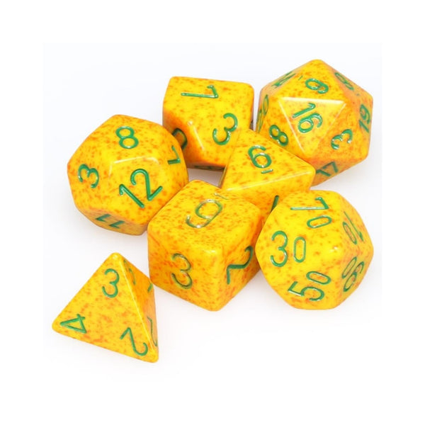 Speckled Lotus w/ Green Lettering 7-Die Set  ||  Chessex Dice