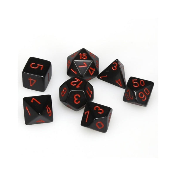 Opaque Black w/ Red Numbering 7-Die Set  ||  Chessex Dice